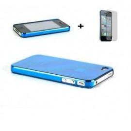 Coque bleue iPhone 4/4S + Film de protection écran!