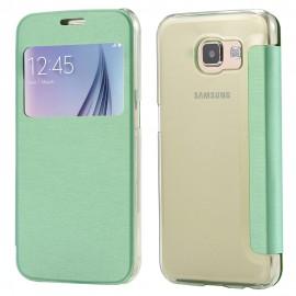 Etui flip cover vert Samsung Galaxy S6 EDGE +
