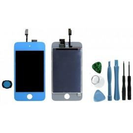 Vitre + LCD assemblés bleu iPod Touch 4G