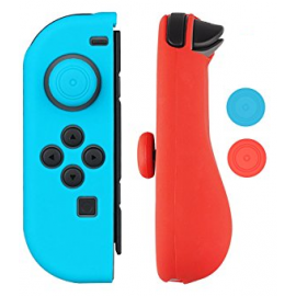 Protections silicone manettes Joy-Con Nintendo Switch bleu et rouge