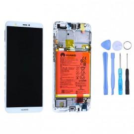 Ecran complet (châssis + batterie) Huawei P Smart Blanc d'origine