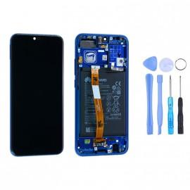 Ecran complet (châssis + batterie) Honor 10 Bleu d'origine