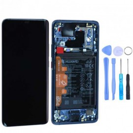 Ecran complet (châssis + batterie) d'origine Huawei Mate 20 Pro Bleu + out