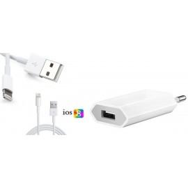 Pack Câble usb Lightning iPhone 5 + Chargeur secteur