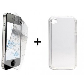 Kit film Anti-casse + Coque crystal iPhone 4/4S
