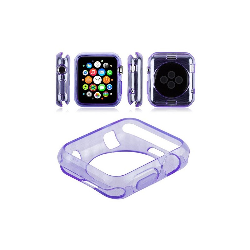 coque violet en silicone apple watch 42mm tout pour phone. Black Bedroom Furniture Sets. Home Design Ideas