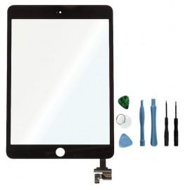 Vitre tactile noire connecteur soudé iPad Mini 3